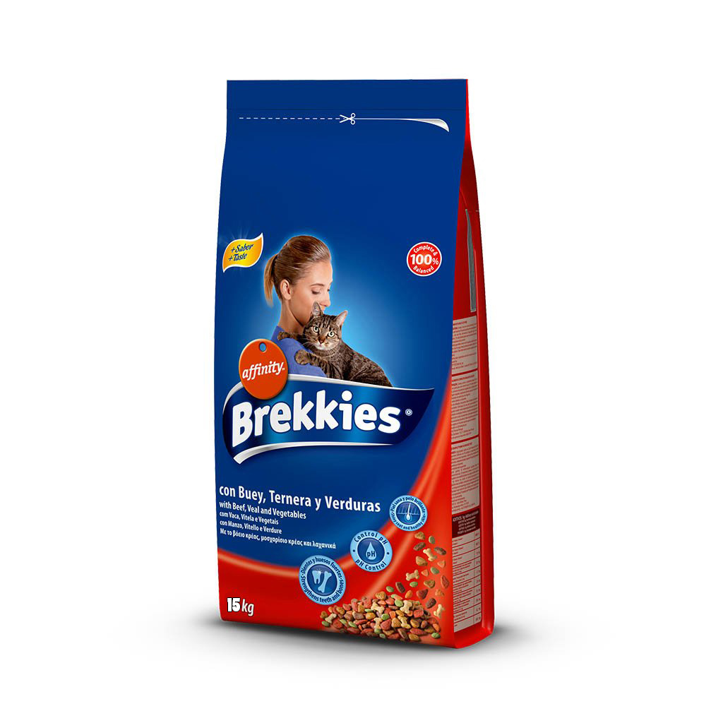 BREKKIES EXCEL CAT MIX BEEF 15 KG